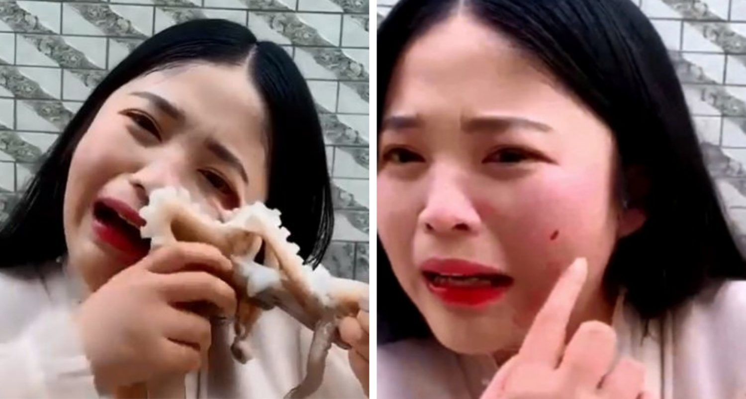 Russo Blogger Nearly Has Her Face Sucked Off By Octopus After Trying To Eat It On Camera