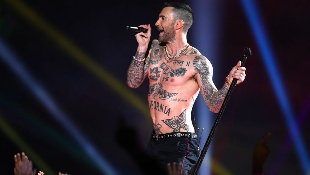 Adam Levine Going Shirtless At The Super Bowl Has Twitter Outraged