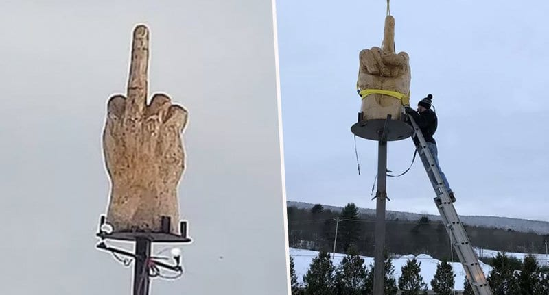 Guy Spends $4000 On Giant Statue To Give His Town The Middle Finger