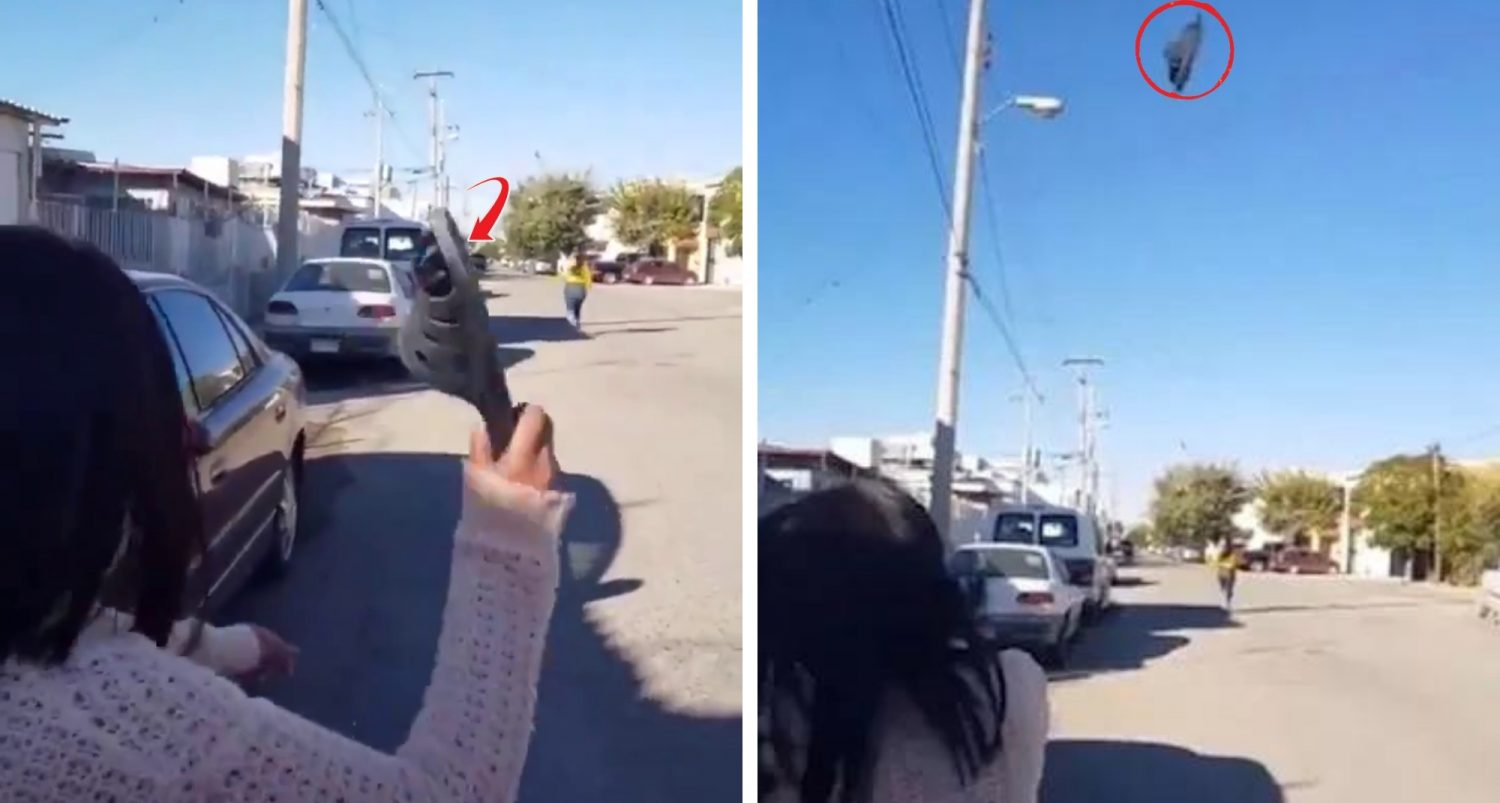 Mother Hits Teenage Daughter With Flip-flop From Impossibly Long Distance