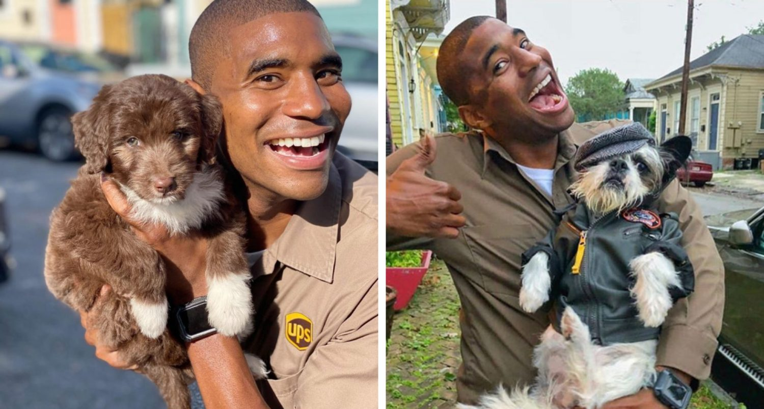Friendly Ups Driver Snaps Adorable Photos With The Dogs Who Live Along His New Orleans Route