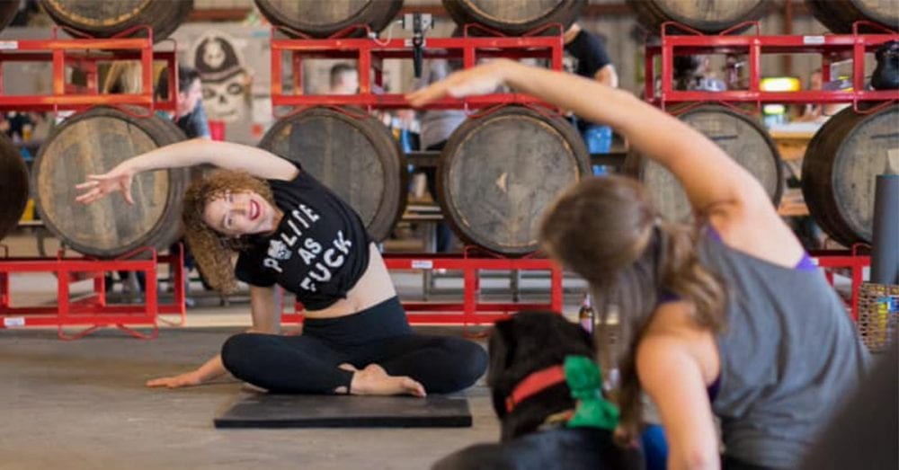 welcome to rage yoga, a rousing form of yoga that lets you use beer and profanity to reduce stress