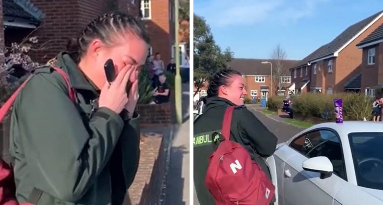 Paramedic Breaks Into Tears As Entire Street Applauds Her On Her Way To Work