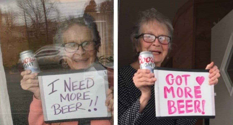 93-year-old Woman's 'i Need More Beer' Sign Goes Viral Amid Coronavirus Lockdown