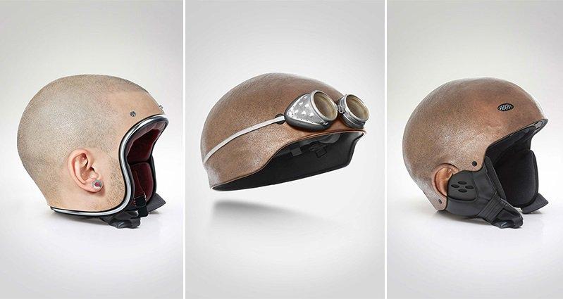 artist creates trippy bike helmets that look like human heads