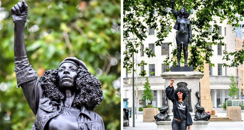 Black Lives Matter Protester Replaces Torn Down Slave Trader Edward Colston Statue In Bristol