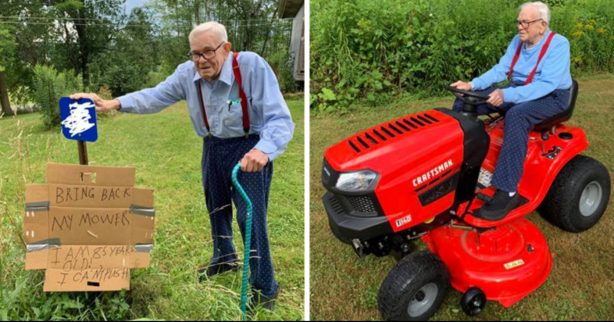 someone stole an 85-year-old man's lawn mower, anonymous donor buys him a new one