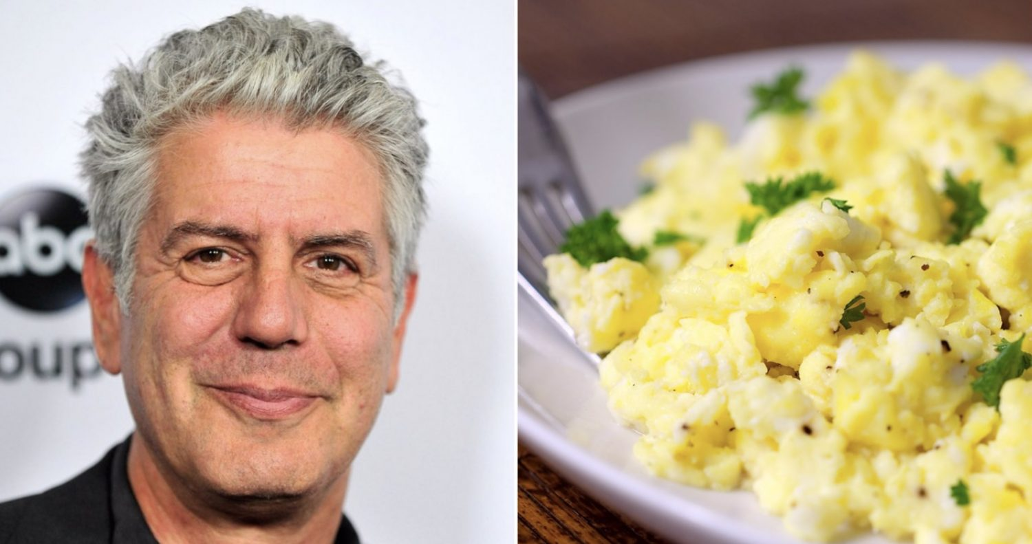 anthony bourdain reveals his secret to making perfect scrambled eggs every time