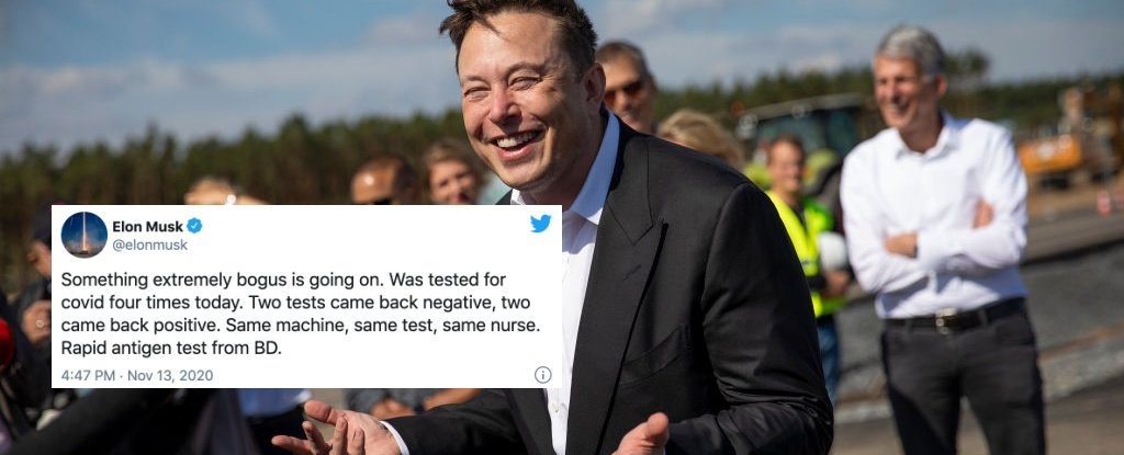 elon musk: i got a covid test four times in one day. 'two came back negative, two came back positive'