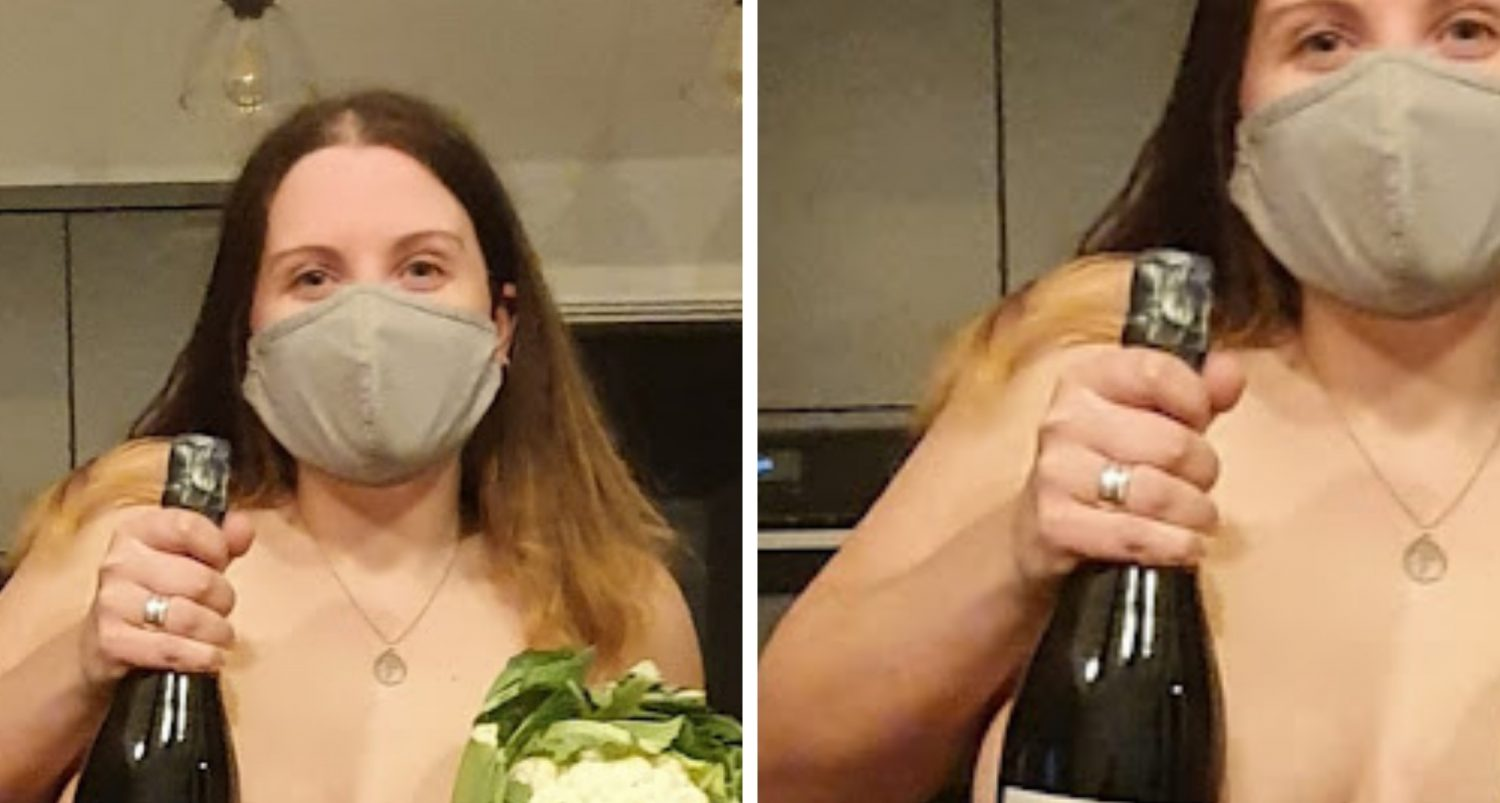 Woman Covers Breasts With Prosecco And Cauliflower As Clothing Is 'non-essential' In Wales