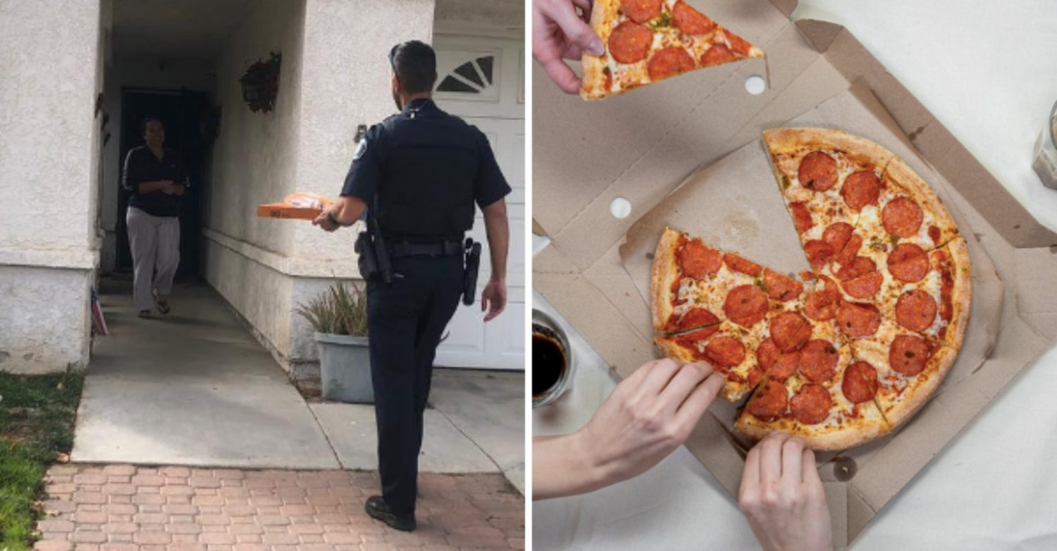 california cops arrest pizza delivery driver, but make sure order is delivered to customer