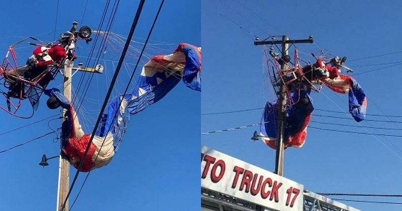 stunt gone wrong: 'santa claus' gets stuck in live wires while delivering candy