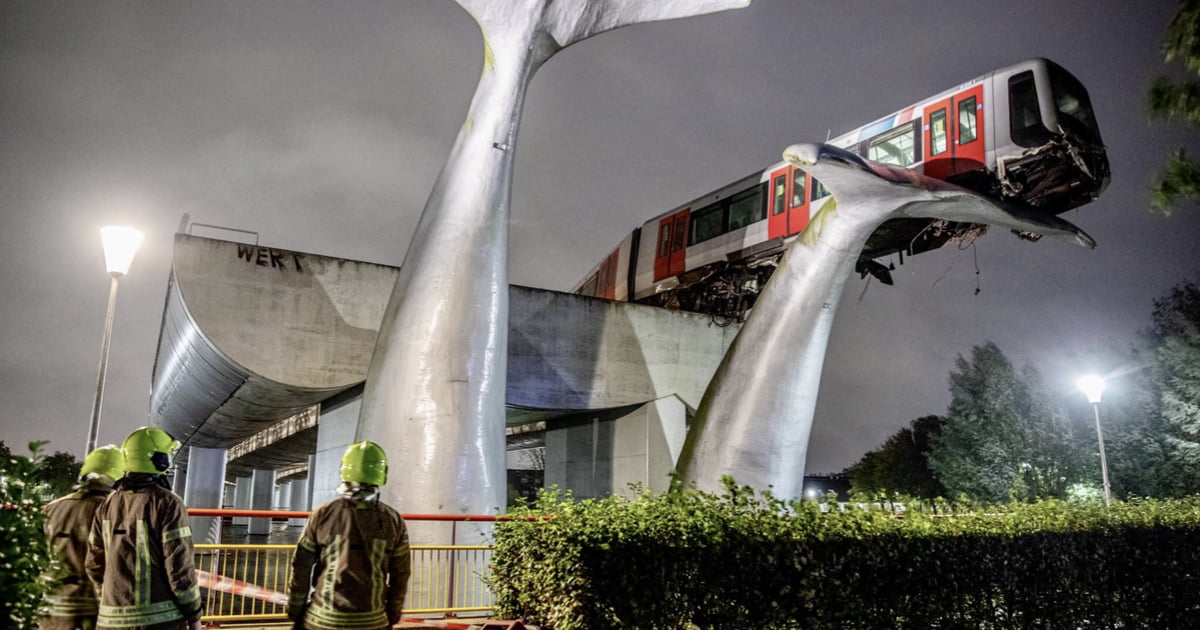dutch train crashes through barriers and lands on giant whale sculpture