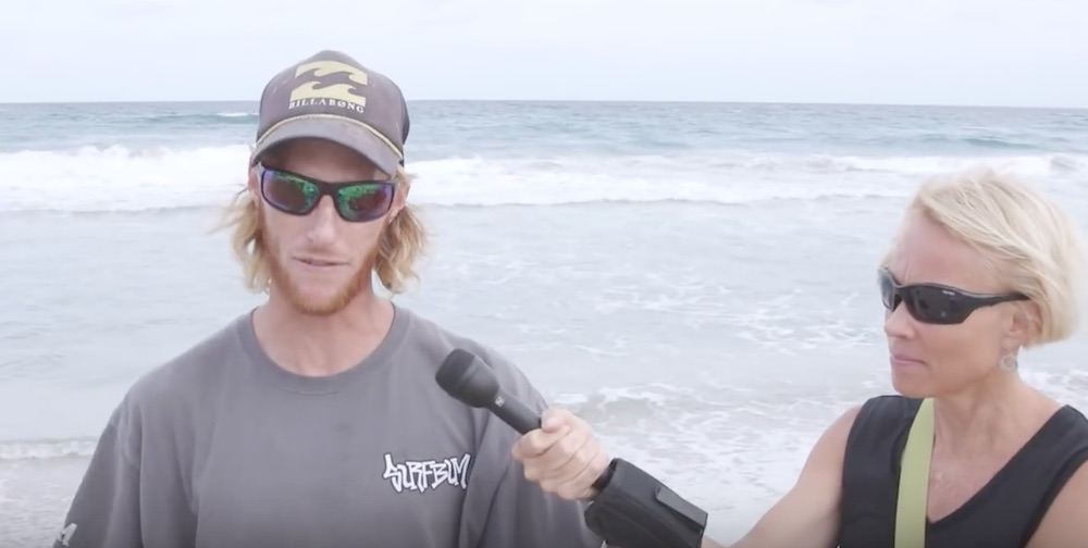 surfer gets bitten by shark; returns the next day to catch it and eat it