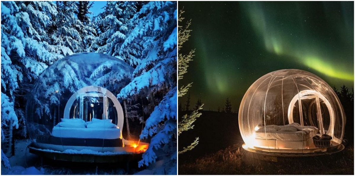 you can now stay in a see-through bubble in iceland that lets you sleep under the northern lights