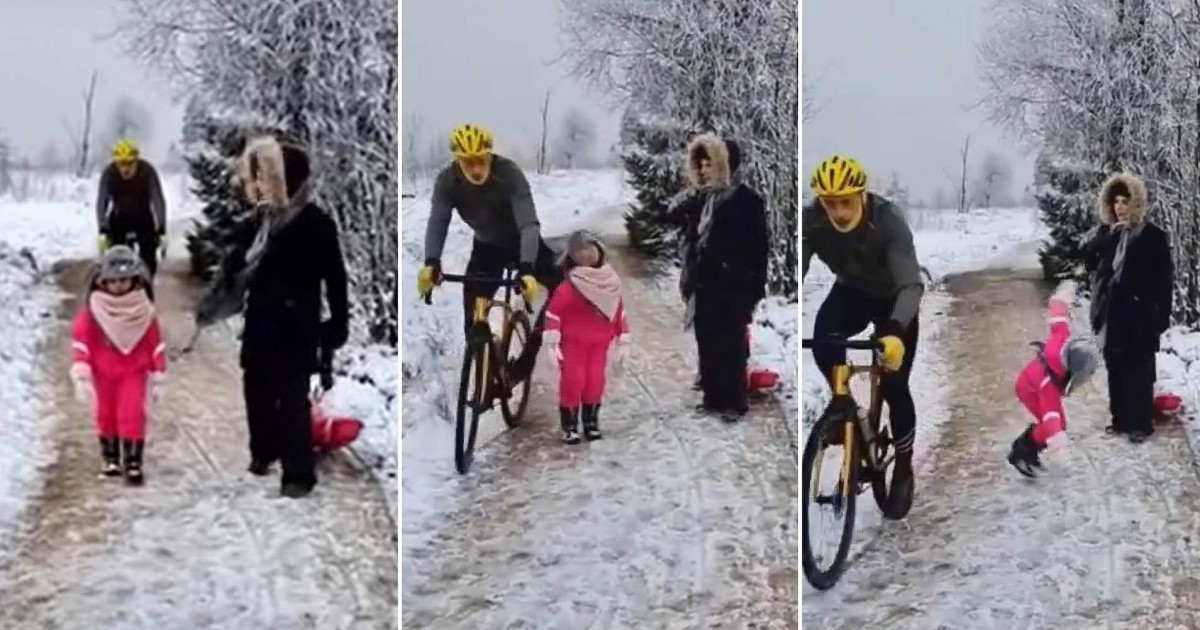cyclist sparks outrage after knocking over a little girl blocking his way (video)