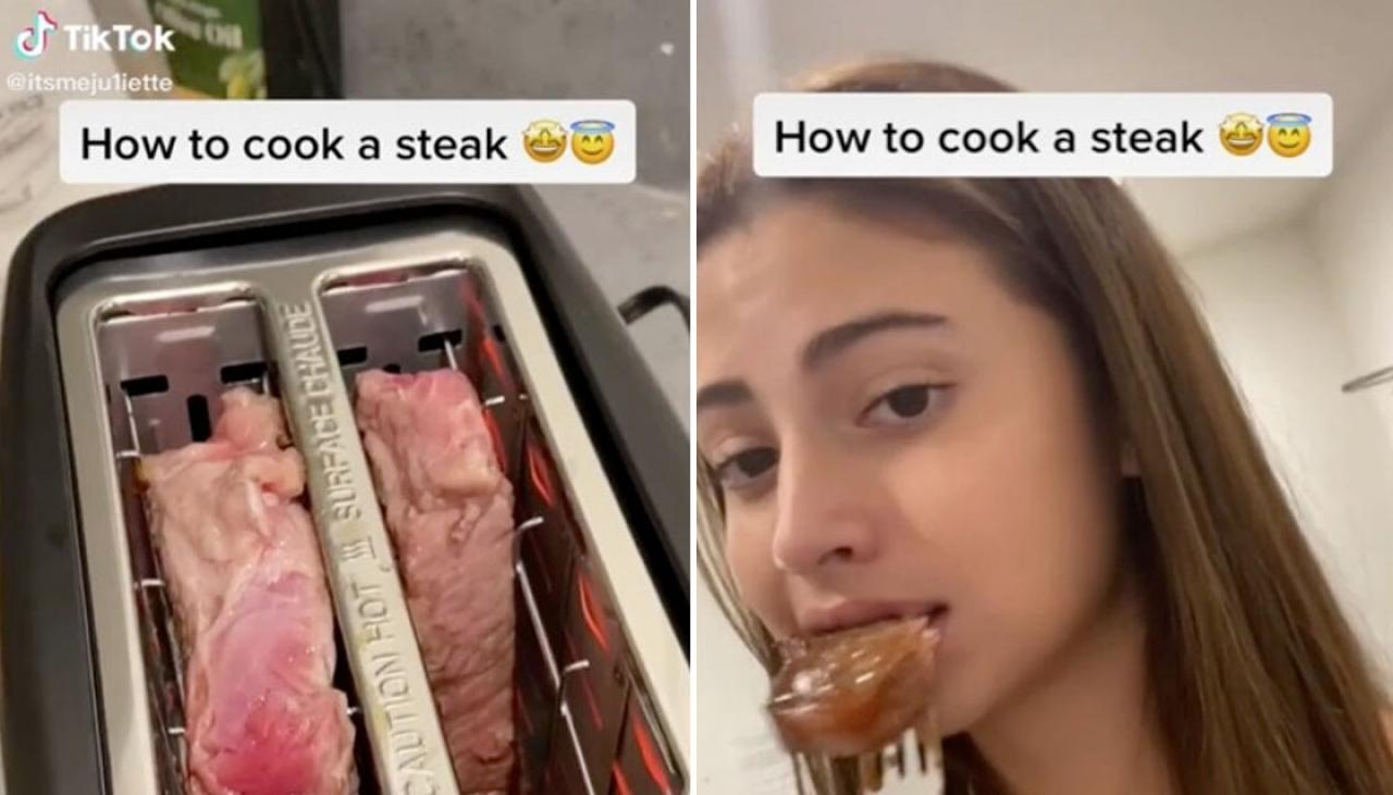 woman cooks steak in a toaster, enrages tiktok