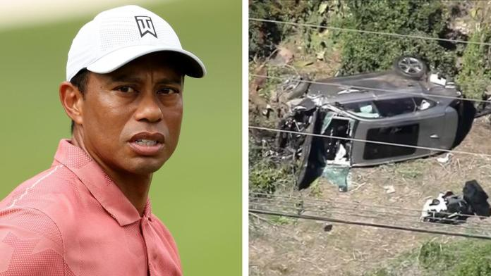 tiger woods severely injured in rollover car crash near los angeles