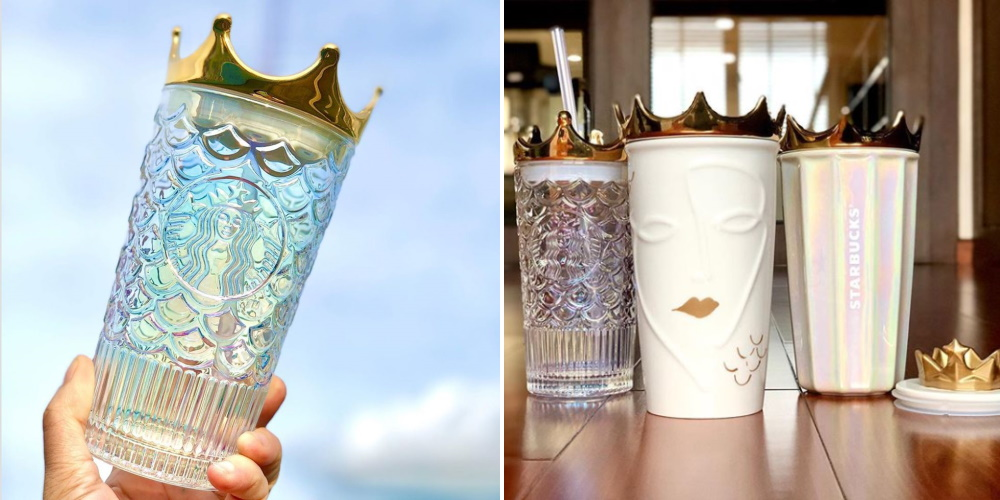 starbucks' new tumbler has a gold crown on top so you can drink like a queen