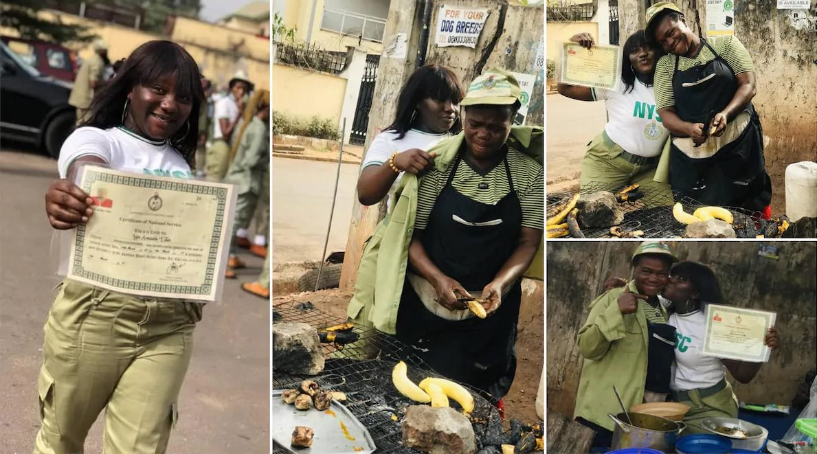 corper wears mom her nysc uniform to appreciate her for selling food to pay her school fees, shares photo