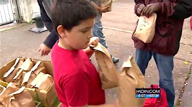 every week boy packs 100 bags w/ food and hope for the homeless