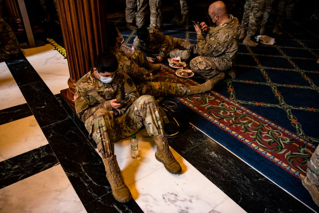 soldiers at capitol sick after being given undercooked food and meals with metal shavings