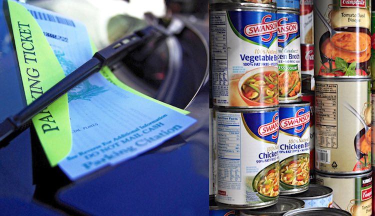 another police department starts collecting canned food in lieu of parking ticket fines