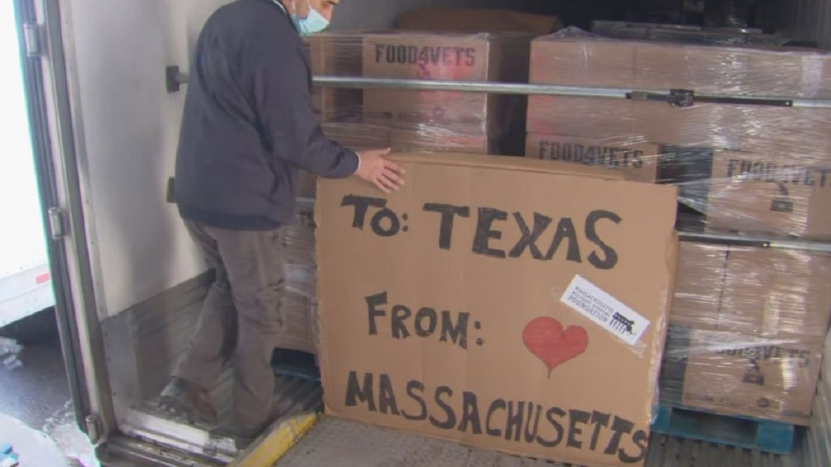 2 tractor trailers filled with food donations sent to texas from massachusetts
