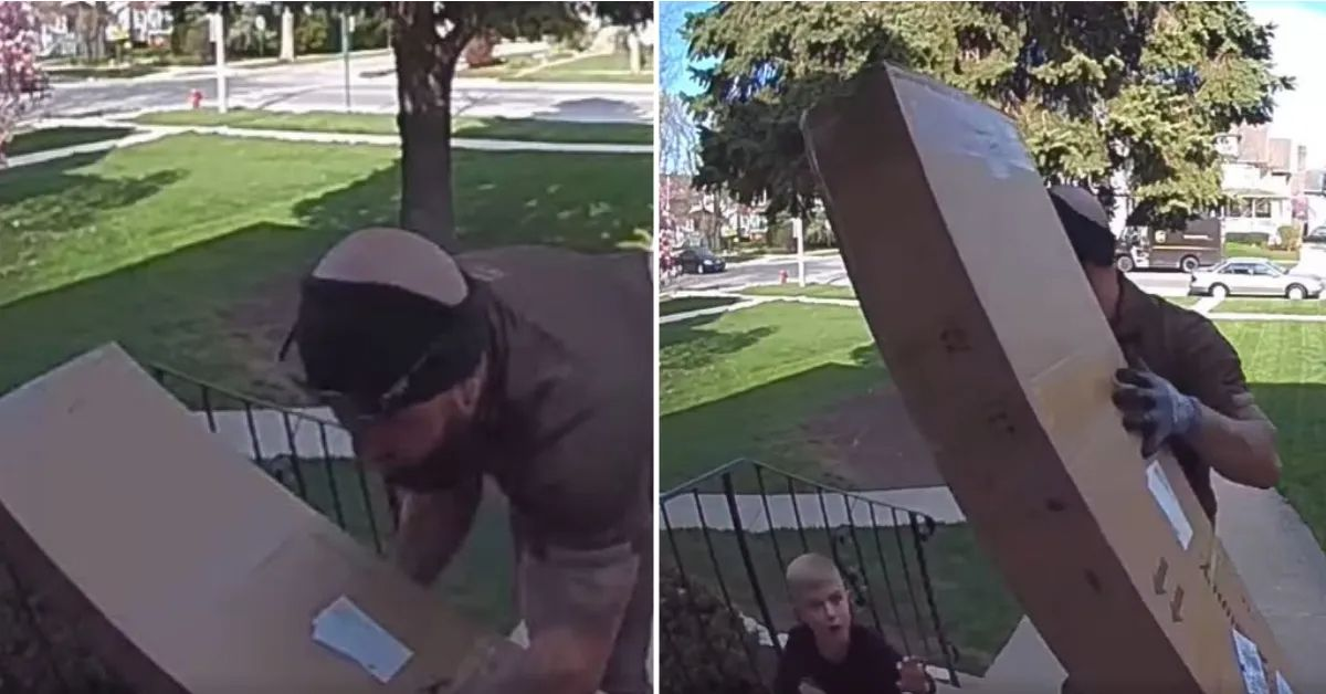 ups driver runs across busy street to free 4-year-old boy trapped under heavy box