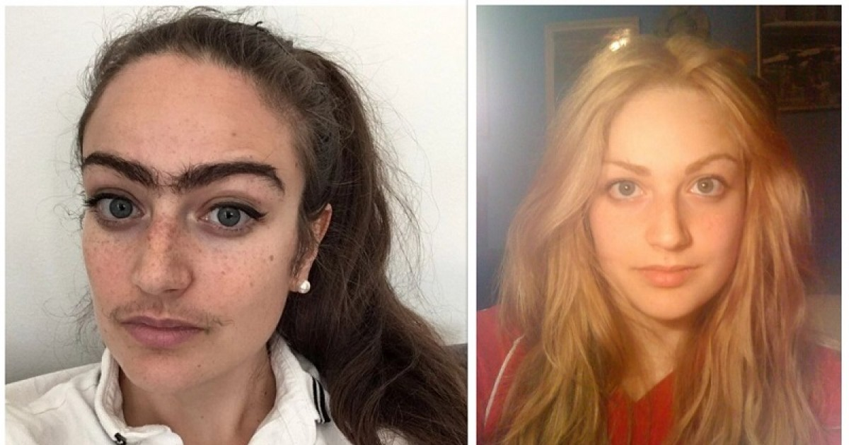 woman decides to stop shaving moustache or unibrow to 'weed out' dates who go for looks