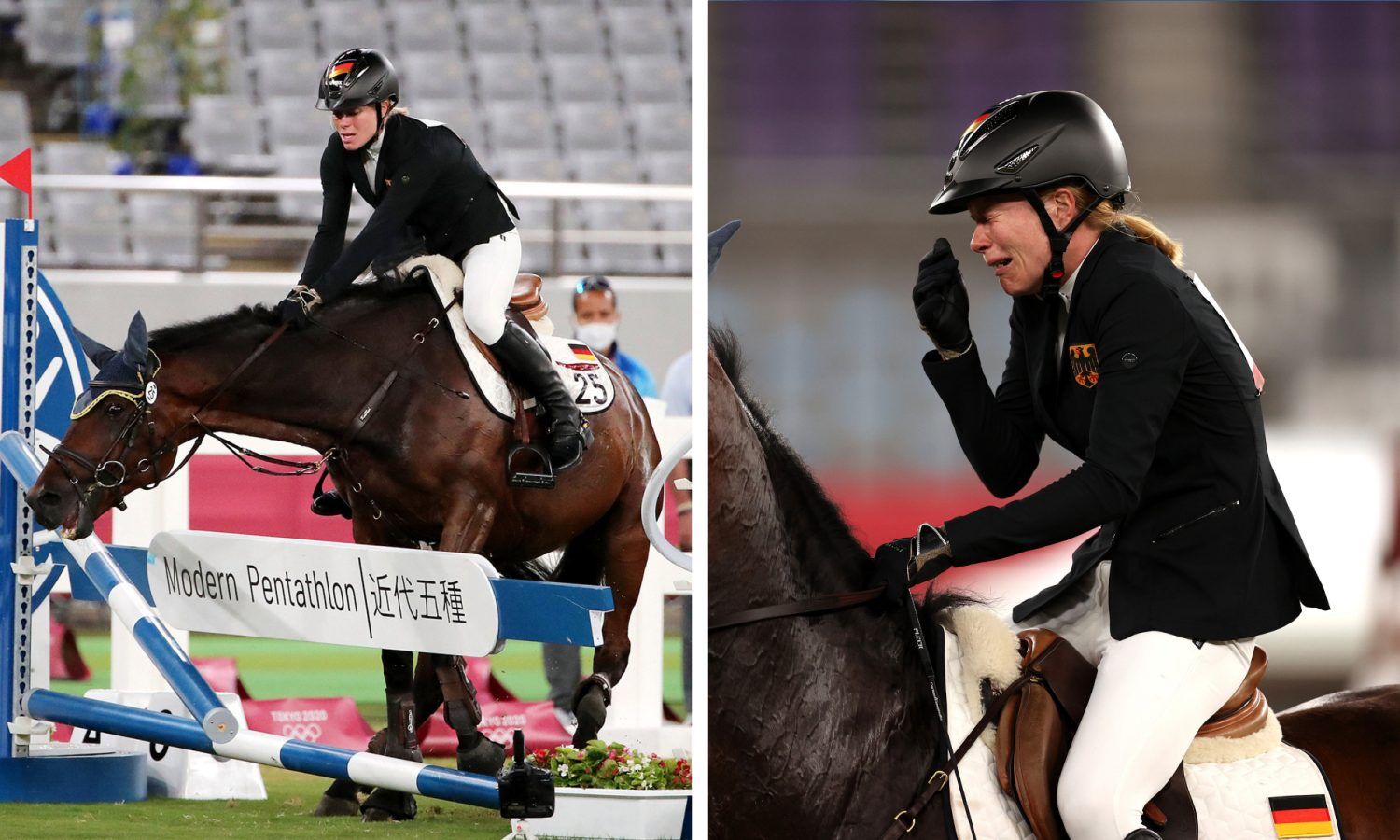 gold medal favourite rides around in tears after horse refuses to cooperate