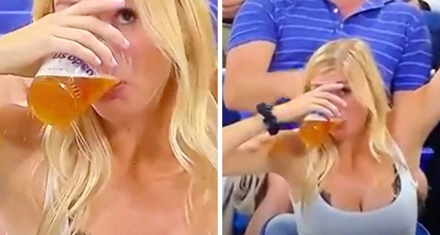 Woman Downs Beer Twice After Seeing Herself On Big Screen At Us Open