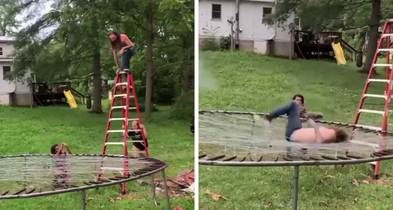 Watch This Wannabe Pro Wrestler Front Flip Off A Ladder Onto A Barbed Wire Trampoline