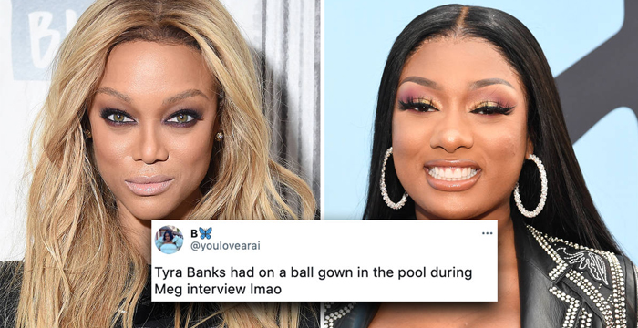 Tyra Banks Hilariously Roasted For Wearing Formal Gown In Hot Tub With Megan Thee Stallion – Video
